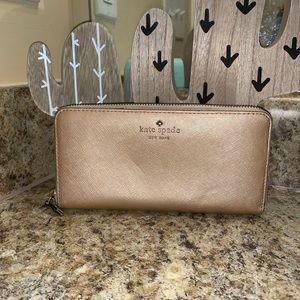Kate Spade Rose Gold Zip Around Wallet